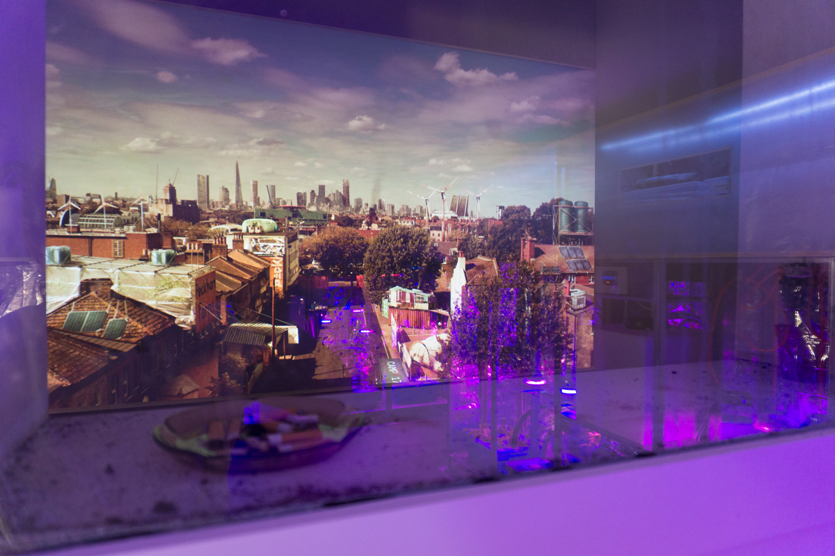 view of London from the immersive Mitigation of Shock installation transporting visitors to a future London where climate change has disrupted global supply chains